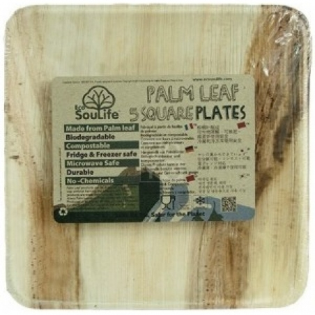 Набор тарелок Eco Soulife Palm Leaf Square Plate 5 pcs 25 см palm (ESL PH12-024-PAL) - интернет магазин 7вершин